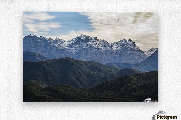 Panoramic view of the Greater Caucasus Mountains, as seen from the road between Jvari and Mestia, Zemo Svaneti National Park; Samegrelo-Zemo Svaneti, Georgia  Metal print