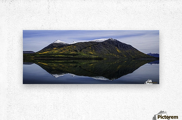 Reflection of the mountains surrounding Carcross reflected in the still waters; Yukon, Canada  Metal print