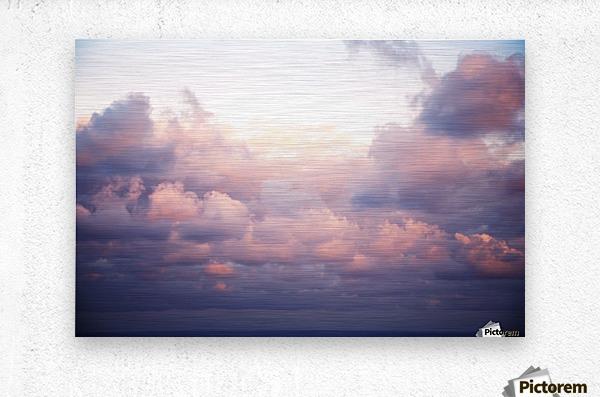 Cumulous pink clouds over horizon; Aina Haina, Oahu, Hawaii, United States of America  Metal print