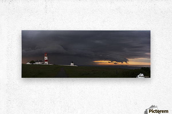 Souter Lighthouse under ominous storm clouds; South Shields, Tyne and Wear, England  Metal print