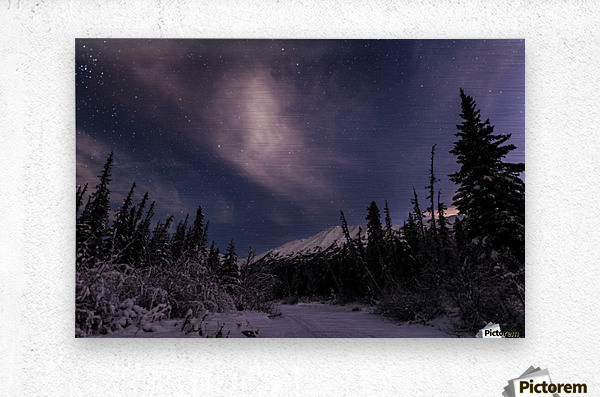 Night skies above Chugach Mountains and Eagle River Valley on winter solstice in South-central Alaska; Alaska, United States of America  Metal print