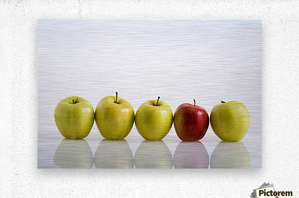 Four Yellow Apples With One Red Apple In A Row On A Reflective Surface; Calgary, Alberta, Canada  Metal print