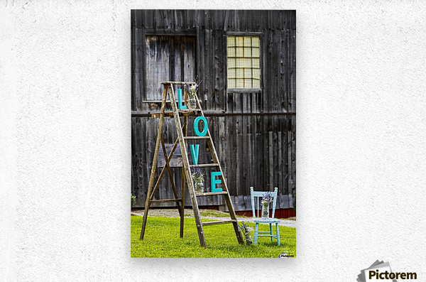 Wooden ladder on grassy lawn with