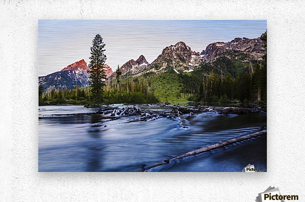 Teton Range and String Lake at sunrise, Grand Teton National Park; Wyoming, United States of America  Metal print