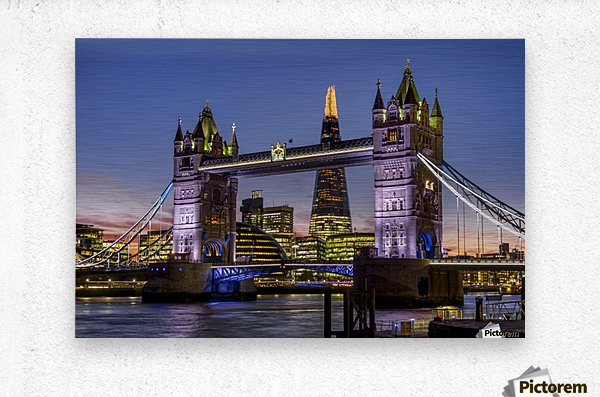 Shard with Tower Bridge at sunset; London, England  Metal print
