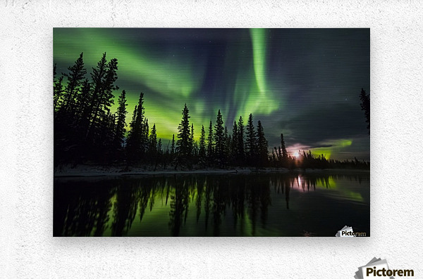The aurora and rising moon reflect in the Clearwater River in Delta Junction; Alaska, United States of America  Metal print