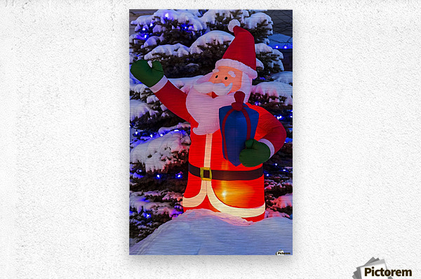 Glowing inflated Santa Claus Christmas decoration with Christmas lights on a snow covered evergreen tree; Calgary, Alberta, Canada  Metal print