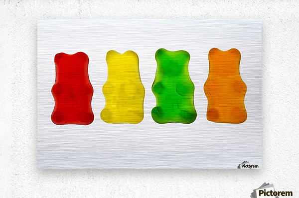Colourful candied gummy bears in a row backlit; Calgary, Alberta, Canada  Metal print