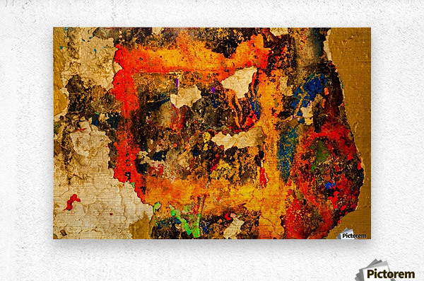 Abstract photo of peeling paint on a concrete wall; Bedford, Nova Scotia, Canada  Metal print