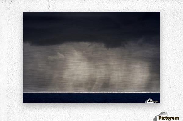 Rain falls over the ocean; Cannon Beach, Oregon, United States of America  Metal print