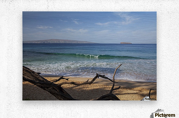View of Kahoolawe and Molokini Islands from Little Beach at Makena Beach State Park; Maui, Hawaii, United States of America  Metal print