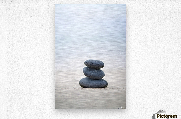 Stack Of Stones On Sand, Selective Focus.  Metal print
