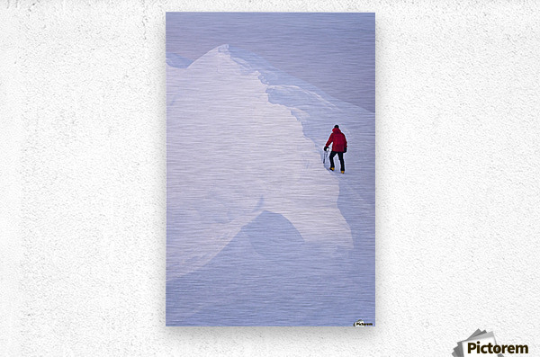 Climber Acsends A Unnamed Peak At Sunset, Prince William Sound, Chugach National Forest, Alaska  Metal print