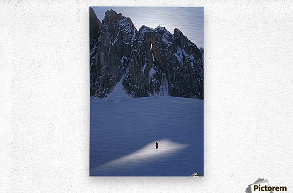Mountaineer Pauses In Sunspot On Glacier To View Scenery, Kichatna Mtns, Denali National Park, Ak.  Metal print
