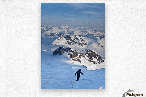 Climber Leaning Into High Winds On Northwest Ridge Of Mount Iliamna Above Tongue Glacier And Chigmit Mountains, Spring, Southcentral Alaska  Metal print