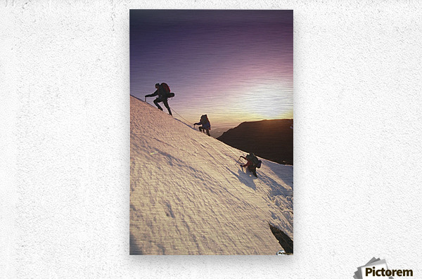 Mountain Climbers @ Sunset Chugach Mts Southcentral Ak  Metal print