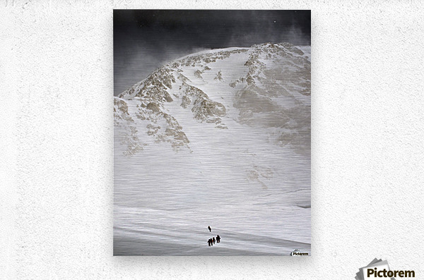 View Of Climbers Traversing The Kahiltna Glacier On The West Buttress Route With The South Face Of Denali In The Background, Denali National Park And Preserve, Interior Alaska, Summer  Metal print