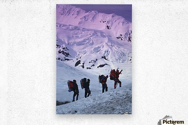 Mountain Climbers Byron Glacier Southcentral Ak Spring  Metal print
