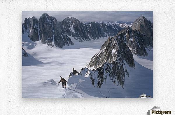 Mountaineer Climbing On Narrow Ridge In Kichatna Mtns Denali National Park Interior Alaska Winter  Metal print