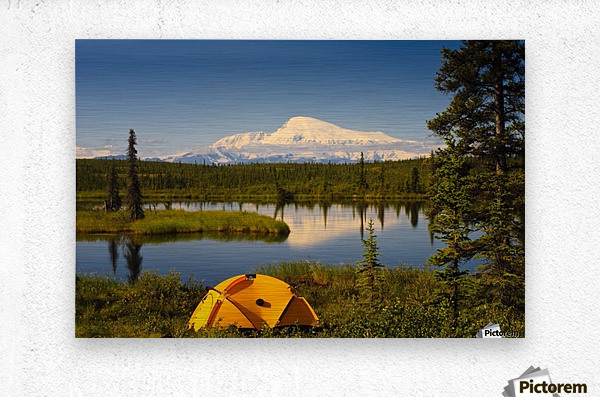 Tent Camping In Wrangell Saint Elias National Park With Mount Sanford In The Background, Southcentral Alaska, Summer  Metal print
