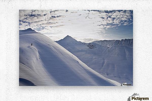 Man Backcountry Skiing In Powder Snow At Wolverine Bowl, Turnagain Pass, Kenai Mountains, Southcentral Alaska, Winter  Metal print