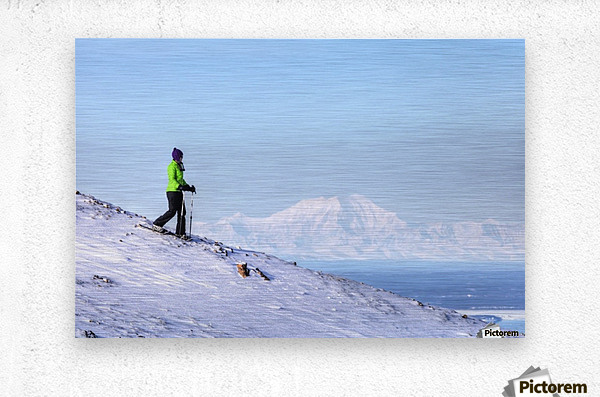 Woman snowshoeing on Blueberry Hill at the Glen Alps area of Chugach State Park with Mt. Foraker in the background, Anchorage, Southcentral Alaska, Winter, HDR  Metal print