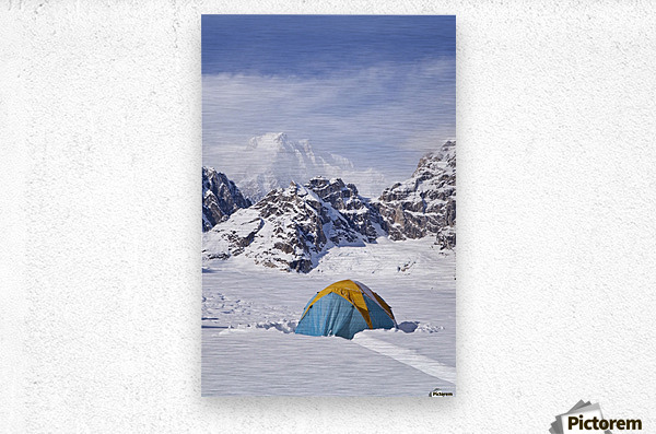 Mountain tent on ridge in winter, Mt. McKinley in background, part of Mt. Dan Beard immediately behind tent, Denali National Park and Preserve; Alaska, United States of America  Metal print