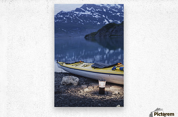 Kayak and lantern on the beach with mountains in the back ground at dusk, Shoup Bay State Marine Park, Prince William Sound, Valdez, Southcentral Alaska  Metal print