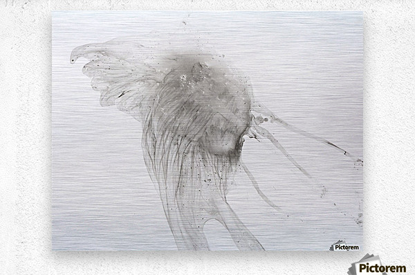 Jellyfish against a white background  Impression metal