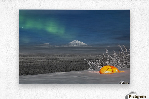 Green Aurora Borealis shines above moonlight casting light on Mount Drum and the Copper River Valley, a glowing tent on a foggy winter night, Copper River Valley, South-central Alaska; Alaska, United States of America  Metal print
