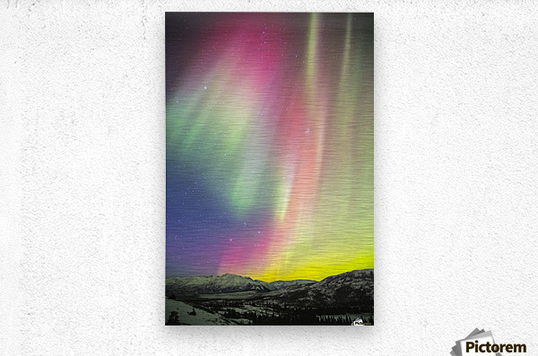 A colourful aurora display over Granite Mountain, south of Delta Junction; Alaska, United States of America  Metal print