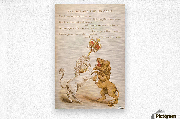 The Lion and the Unicorn from Old Mother Goose's Rhymes and Tales  Illustration by Constance Haslewood  Published by Frederick Warne & Co London and New York circa 1890s  Chromolithography by Emrik & Binger of Holland  Metal print