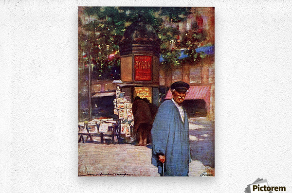 The Kiosk on the Boulevard, Paris. Colour illustration from the book France by Gordon Home published 1918  Metal print