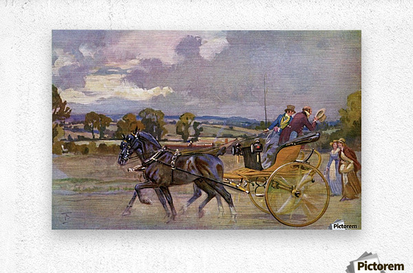 Regency Bucks in their Curricle on the road to Brighton, England.  From The Illustrated London News, Christmas Number, 1933.  Metal print