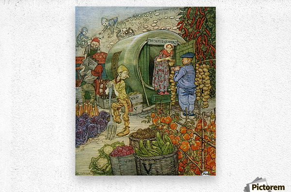Mr and Mrs Vinegar At Home.  From the book English Fairy Tales retold by F.A. Steel with illustrations by Arthur Rackham, published 1927.  Metal print