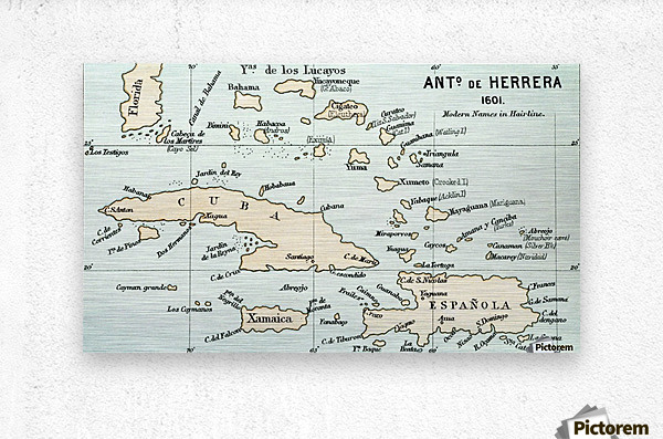 Antonio de Herrera y Tordesillas map of the Bahamas, 1601.  From the book Life of Christopher Columbus by Clements R. Markham published 1892.  Metal print