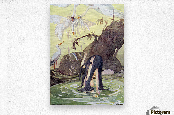 Illustration from The Marsh King's Daughter.  From The Golden Wonder Book for Children published 1934. There sat the Marsh King daughter with no covering but her long black hair.  Metal print