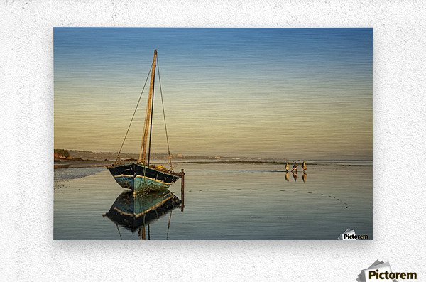 Dhow in low tide; Pemba, Cabo Delgado, Mozambique  Metal print