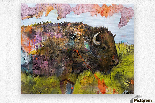 Illustration of a buffalo with colourful splashes and landscape  Metal print