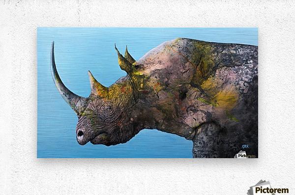 Illustration of a white rhinoceros against a blue background  Impression metal
