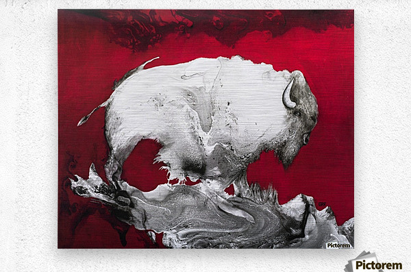 Illustration of a bison against a red background  Impression metal