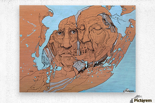 Illustration of two male faces and an abstract blue and brown background  Metal print