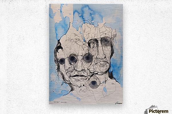 Illustration of a composite of men's faces  Metal print