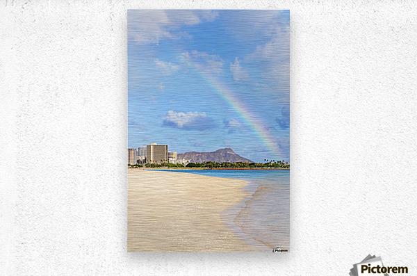 View of Waikiki beach and Diamond Head crater at Ala Moana Beach Park with a rainbow overhead; Honolulu, Oahu, Hawaii, United States of America  Metal print