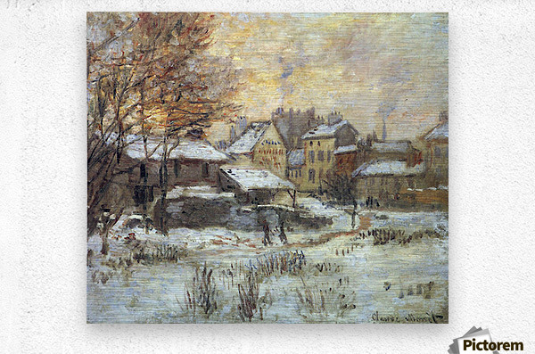 Snow at sunset, Argenteuil in the snow by Monet  Metal print