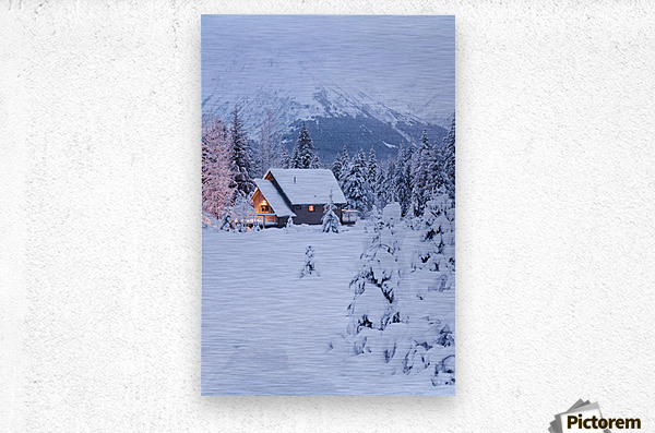 Snowcovered Home In A Wintry Meadow At Dawn With Inside Lights On, Girdwood, Southcentral Alaska  Metal print