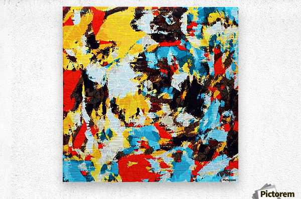 psychedelic geometric splash painting abstract pattern in yellow red blue brown  Metal print