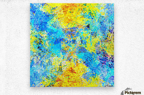 psychedelic geometric abstract pattern in yellow and blue  Metal print