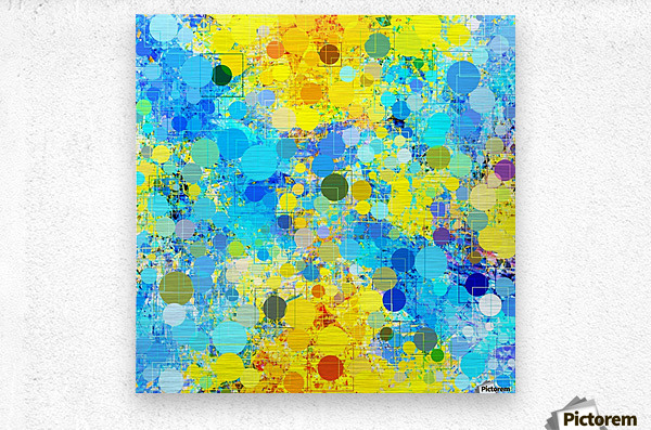 psychedelic geometric circle pattern and square pattern abstract in yellow and blue  Metal print