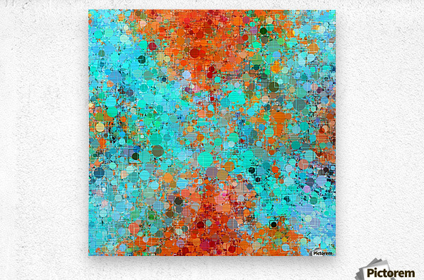 psychedelic geometric circle pattern and square pattern abstract in orange and blue  Metal print